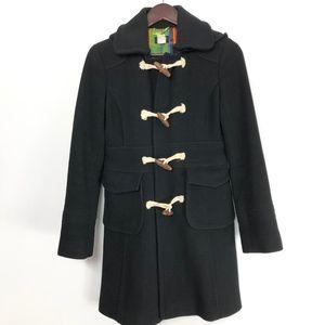 J Crew Wool Blend Toggle Coat Jacket Black Sz 2